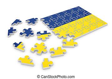 Ukraine puzzle flag - 3d render of Ukraine puzzle flag...