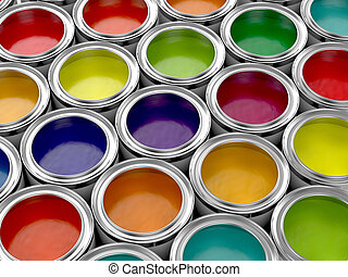 Colorful paint cans - 3d illustration of colorful paint cans...