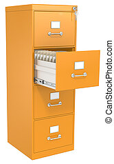 Orange File Cabinet. Open drawer with files. Lock and key.