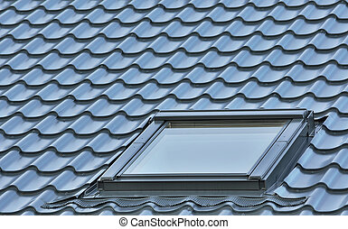 Roof window on a grey tiled rooftop, large detailed loft...