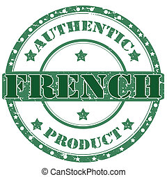 French-stamp - Grunge rubber stamp with text...