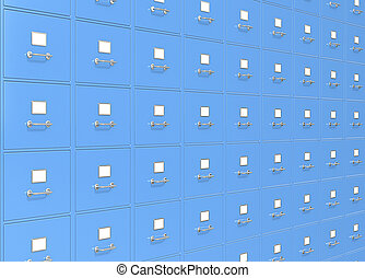 File Storage. - Blue wall of File Cabinets.
