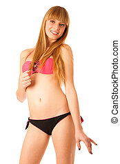Beautiful teenage girl in bikini swimwear isolated over...