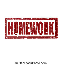 Homework-stamp - Grunge rubber stamp with text...