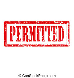 Permitted-stamp - Grunge rubber stamp with word...