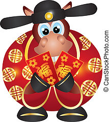 2014 Year of the Horse Money God with Red Money Packet