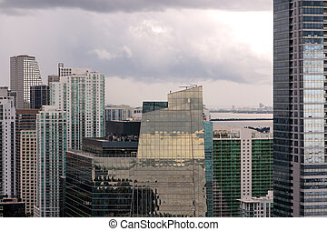 Miami Towers under Clouds - Brickell in central Miami, FL,...