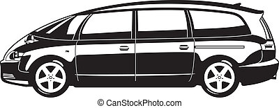 minivan - black and white illustration of  minivan