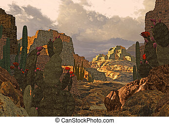 Southwest Indian Ruins - Abandon Southwest ancient Pueblo...