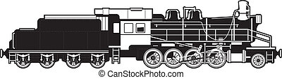 vintage train - black and white illustration of a train