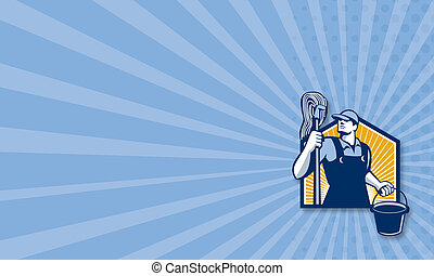 Janitor Cleaner Holding Mop Bucket Retro - Business card...