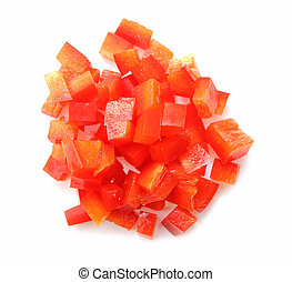 slice of red bell pepper on white background
