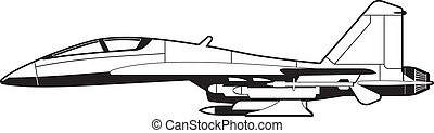 fighter - black and white illustration of a pursuit plane