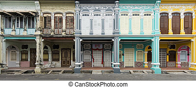 Old And New Heritage Houses, George Town, Penang, Malaysia -...
