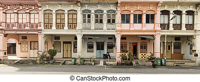 Heritage Houses, George Town, Penang, Malaysia - Panoramic...