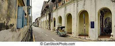 Old Heritage Street and Trishaw, George Town, Penang,...