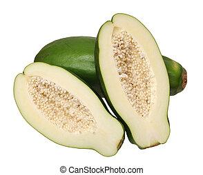 green papaya isolated on  white background