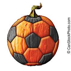 Soccer Ball Pumpkin - Photo-Illustration of a pumpkin soccer...