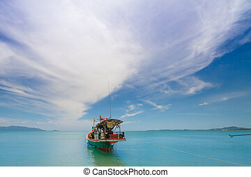 thai moter boat om the sea koh samui thailand