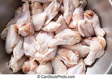 metal, pollo, tazón, alas