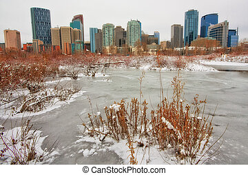 Calgary Winter Cityscape - Cityscape of Calgary viewed from...