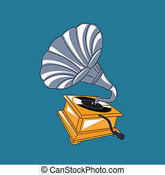 gramophone design over blue background vector illustration