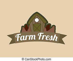 farm fresh label over pink  background vector illustration