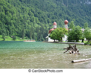 Konigssee - this pictur shows the church St. Bartholoma and...