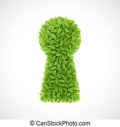 verde, folhas, buraco fechadura