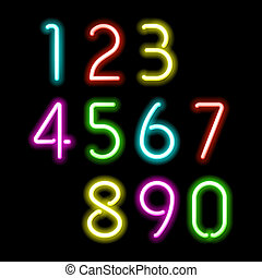 Neon numbers illustration