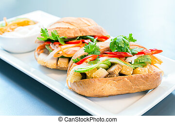baguette sandwich with pork and vegetable