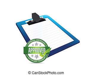 clipboard and approve seal illustration design