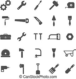 Tool icons on white background