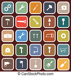 Tool flat icons on red background, stock vector