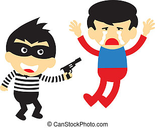 Bandits are robbing vector cartoon style