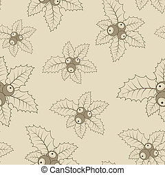 Christmas holly wrapping paper seamless pattern.