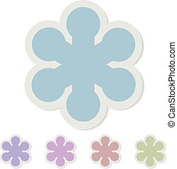 Christmas snowflake paper sticker vector template.