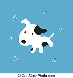 dog cartoon on blue background