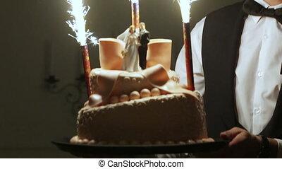 Wedding cake with fireworks