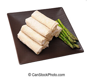 springroll and asparagus on dish isolated on white...