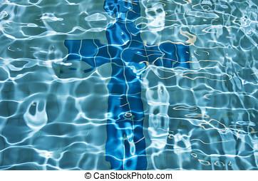 sinal, crucifixos, piscina, natação