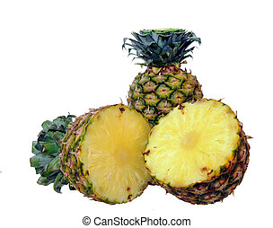 two pineapples - whole and half pineapple isolated on white...