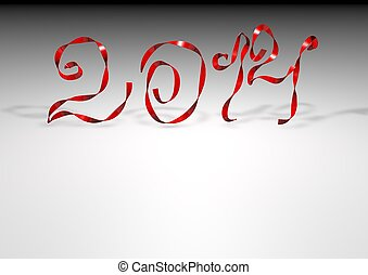 Number 2012 from a red ribbon
