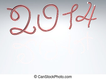 New year 2012 made of christmas lollipop cane isolated on...