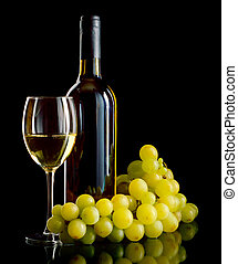 White wine and grapes - A bottle and a glass of white wine...