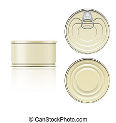 Tin can with ring pull: side, top and bottom view - Low tin...