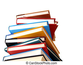 a pile of colorful books isolated on white background