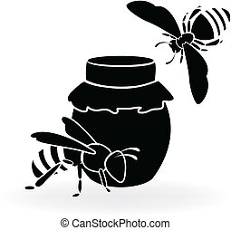 Black bees and honey - Silhouette of bees and honey