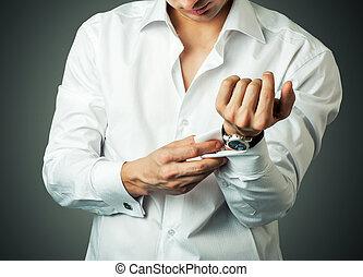 性感, 人, 按鈕, 鏈扣, 法語, 袖口
