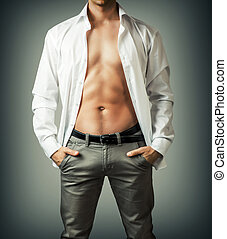 Portrait of muscle man torso in white shirt